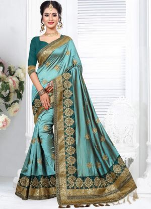 Most Demanded Two Tone Vichitra Silk Embroidered Saree Collection