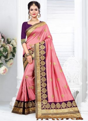 Most Demanded Two Tone Vichitra Silk Embroidered Saree