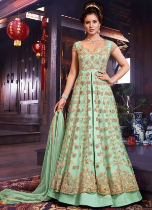Most Demanded Wedding Wear Green Floor Length Anarkali Suit