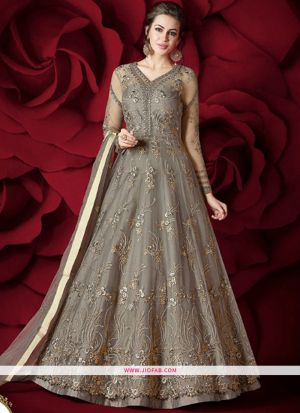 Most Demanding Grey Embroidered Heavy Net Gorgeous Salwar Suit