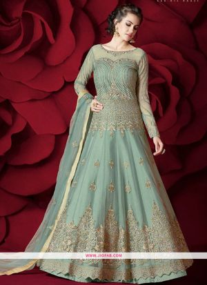 Most Demanding Mint Green Embroidered Heavy Net Salwar Suit