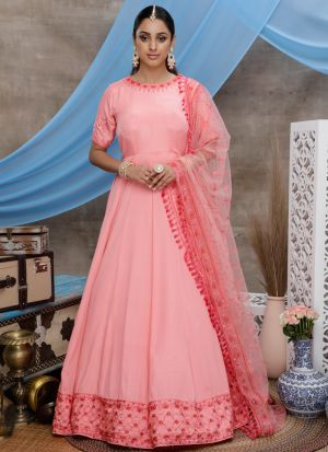 Most Demanding Pink Stone Pasting Silk Anarkali Suit