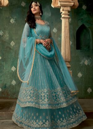Most Popular Blue Net Bridal Wear Lehenga Style Dress
