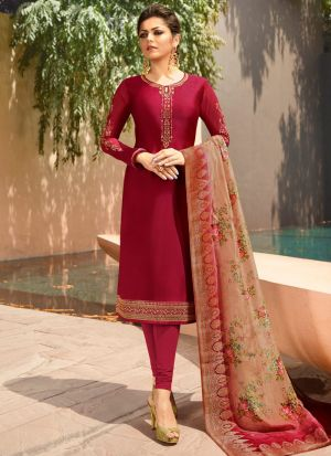 Most Popular Bridesmaids Wear Wine Churidar Suit