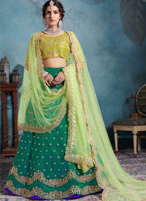 Most Popular Designs Of Green Designer Lehenga Choli With Soft Net Dupatta