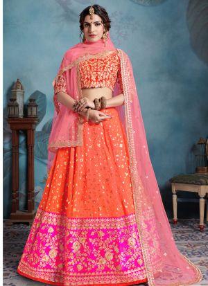 Most Popular Designs Of Multi Color Designer Lehenga Choli With Soft Net Dupatta