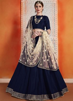Most Popular Designs Of Navy Designer Lehenga Choli With Soft Net Dupatta