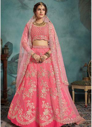 Most Popular Designs Of Neon Pink Designer Lehenga Choli With Soft Net Dupatta
