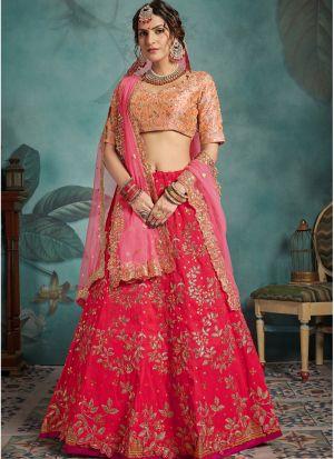 Most Popular Designs Of Pink Designer Lehenga Choli With Soft Net Dupatta