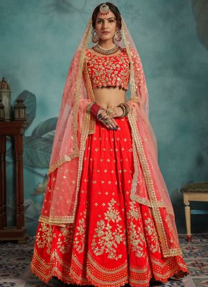 Most Popular Designs Of Red Color Designer Lehenga Choli With Soft Net Dupatta
