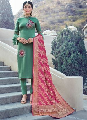 Most Popular Green Straight Cut Suit For Ceremony