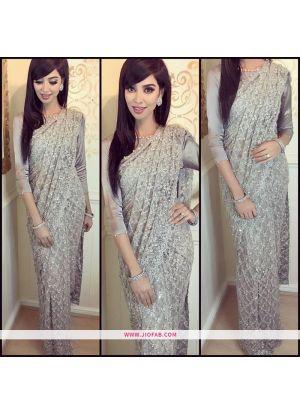 Most Popular Grey Net Indian Saree