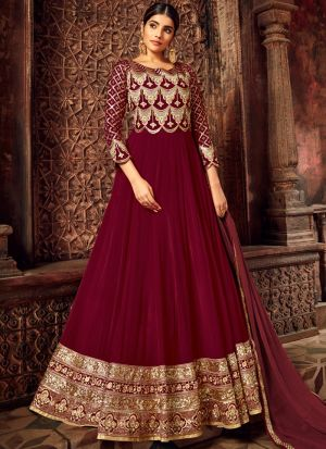 Most Popular Maroon Pure Georgette Wedding Wear Anarkali Suit
