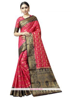 Most Popular Pink Naylon Weaving Saree