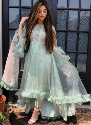 Most Popular Sage Color Butterfly Mono Net Party Wear Salwar Suit