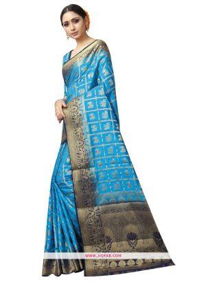 Most Popular Sky Blue Naylon Weaving Indian Saree