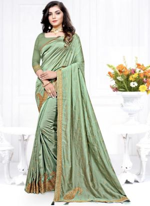 Most Popular Two Tone Vichitra Silk Embroidered Beautiful Saree