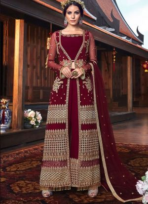 Most Popular Wedding Wear Maroon Floor Length Anarkali Suit