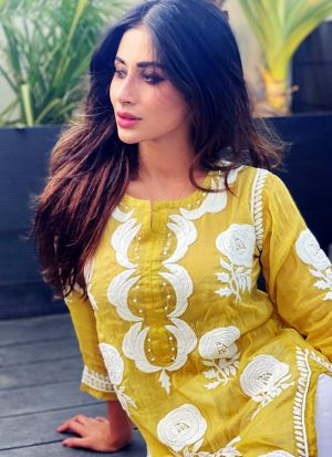 Mouni Roy Classic Yellow Chain Stitch Causal Salwar Suit