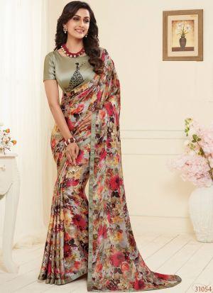 Multi Color Attractive Festive Wear Satin Georgette Saree