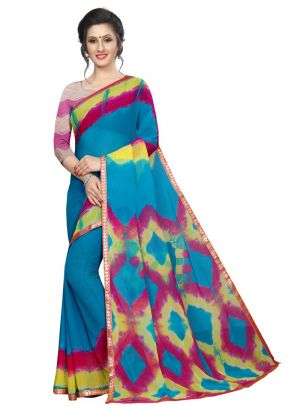 Multi Color Chiffon Saree With Blouse