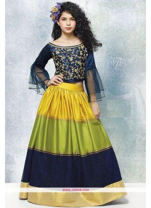 Multi Color Color Malbon Silk Designer Lehenga Choli For Kids Girl