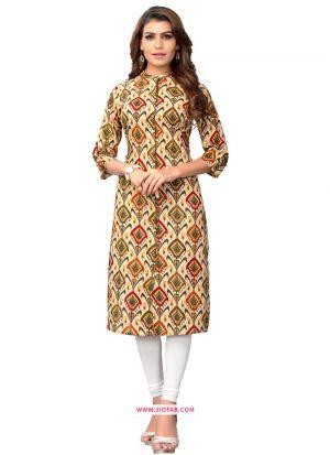 Multi Color Regular Casual Wear Ethnic Kurti