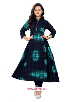 Multi Color Cotton Fabric Printed Stitched Office Wear Kurti
