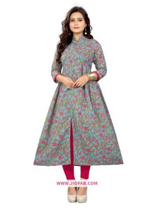 Multi Color Cotton Fabric Printed Stitched Traditional Kurti