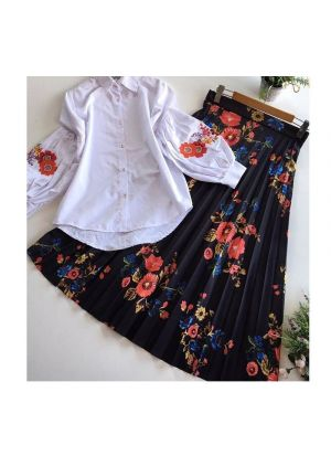 Multi Color Heavy Line Crease Silk Top With Skirt Set