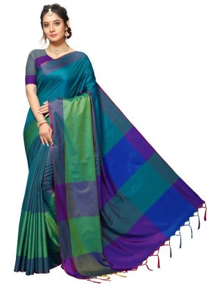 Multi Color New Arrival Handloom Chex Silk Saree Collections