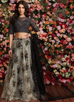 Multi Color Organza Silk Hit Design Partywear Lehenga Choli