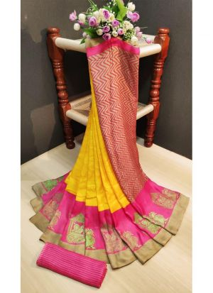 Multi Color Pashmina Silk Printed Designer Saree With Blouse Piece