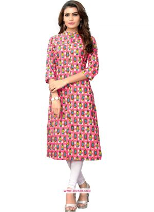 Multi Color Printed Stylish Indian Traditional Ladies Long Kurti