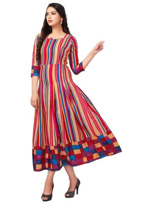 Multi Color Pure Heavy Rayon Women Latest Wear Kurti Collection