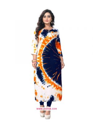 Multi Color Rayon Fabric Printed Stitched Traditional Kurti