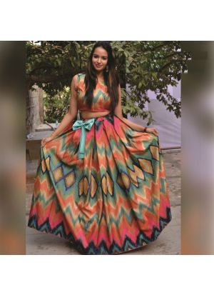 Multi Color Satin Banglori Silk Digital Printed Lehenga Choli