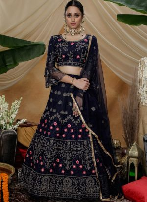 Multi Thread Work Navy Designer Lehenga Choli