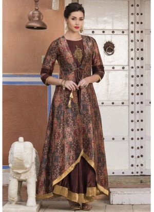 Muslin Cotton Dark Coffee Anarkali Style Kurti