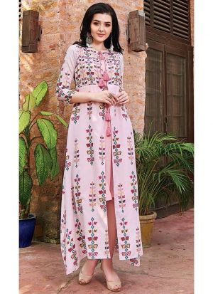 Muslin Cotton Pink Anarkali Style Flared Kurti