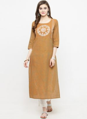 Mustard Cotton Blend Designer Kurti For Party Wear