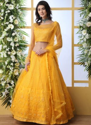 Mustard Yellow Net Haldi Ceremony Wear Lehenga Choli