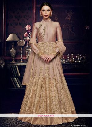 Nakkashi 11052 Mocha Silk Wedding Anarkali Salwar Suit