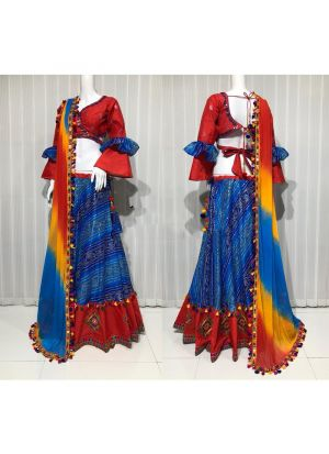 Navratri Special Blue Traditional Gujarati Style Lehega Choli For Women