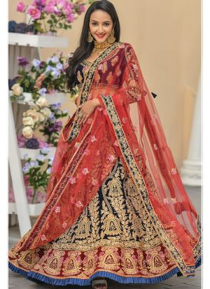 Navy 9000 Velvet Designer Lehenga Choli Collection