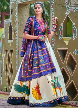 Navy And Off White Color Chaniya Choli Gujarati