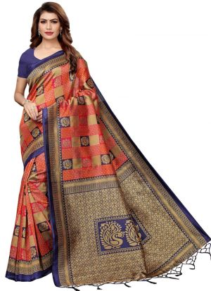 Navy And Red Art Silk Casual Saree