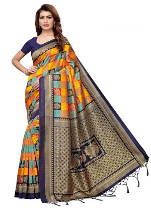 Navy And Yellow Art Silk Designer Traditional Saree