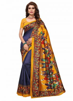 Navy Art Silk Printed Festival Trendy Saree