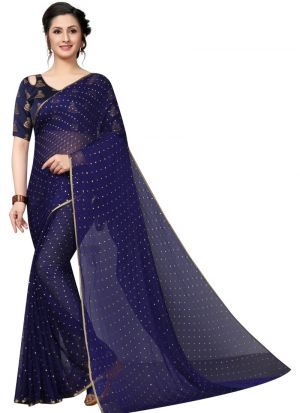 Navy Chiffon Daily Use Saree
